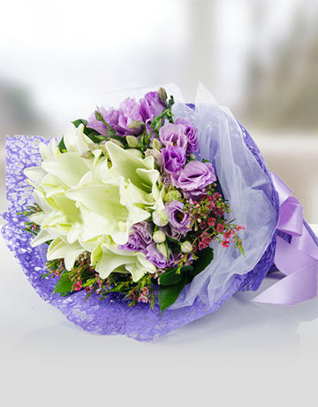flowers: Purple Eustoma and Lilies Bouquet!