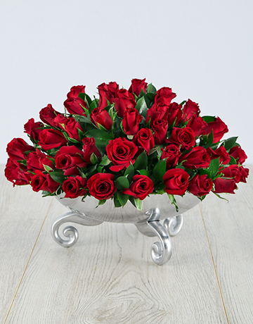 Red Roses in a Silver Bowl!