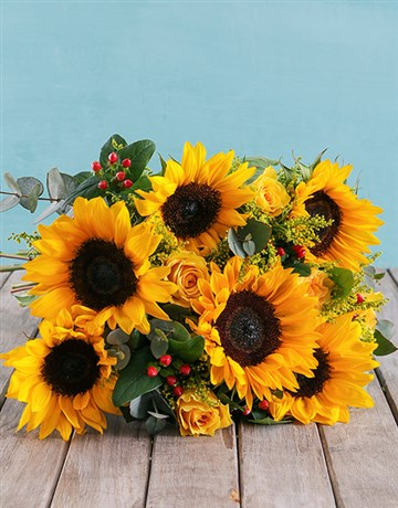Sunflower and Gum Leaf Bouquet!