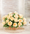 Cream Roses in a Woven Basket