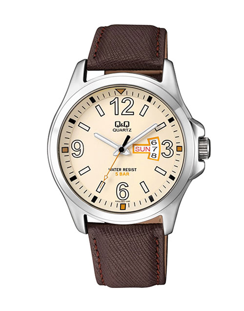 for-him: QQ Steel Beige Dial Brown Leather Strap Watch!