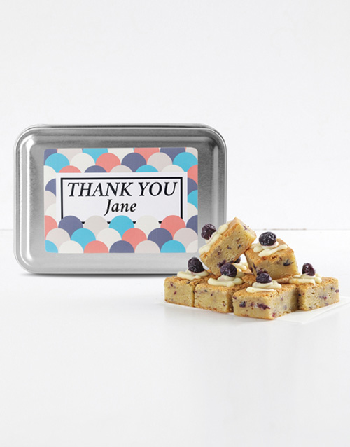 brownies: Personalised Thank You Blueberry Blondies!