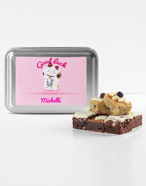 brownies: Personalised Good Luck Kitty Gourmet Brownie Tin!