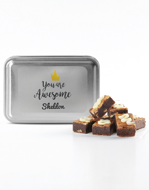 personalised: Personalised Youre Awesome Assorted Brownie Tin!