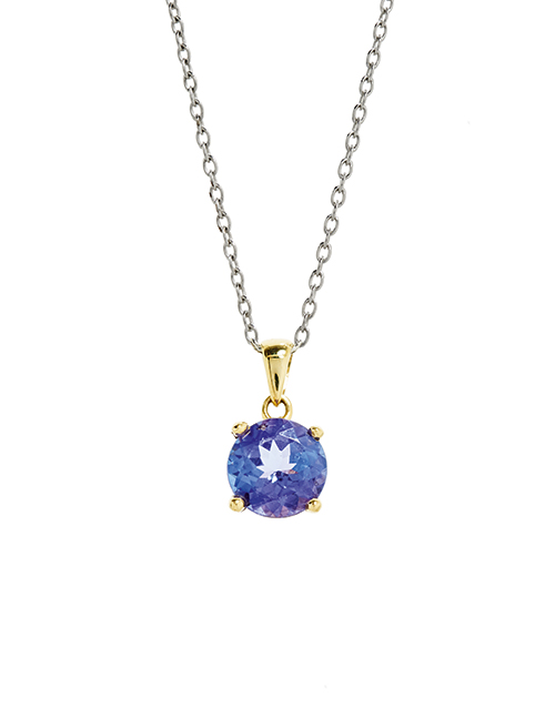 necklaces: 18KT White and Yellow Gold Round Tanzanite Pendant!