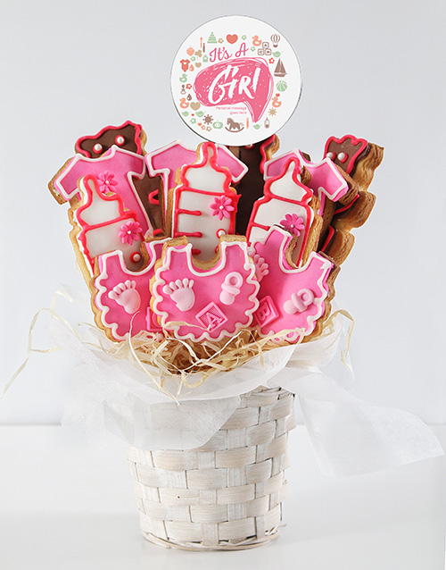 baby: Personalised Baby Girl Cookie Bouquet!
