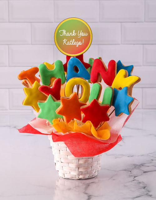 personalised: Personalised Thank You Cookie Bouquet!