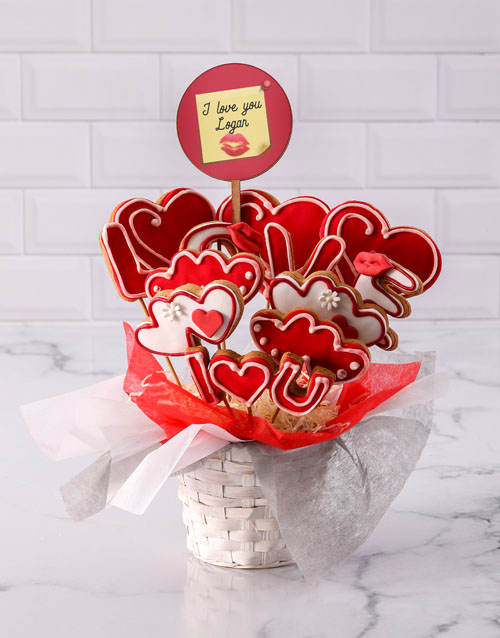 valentines-day: Personalised Lovely Cookie Bouquet!