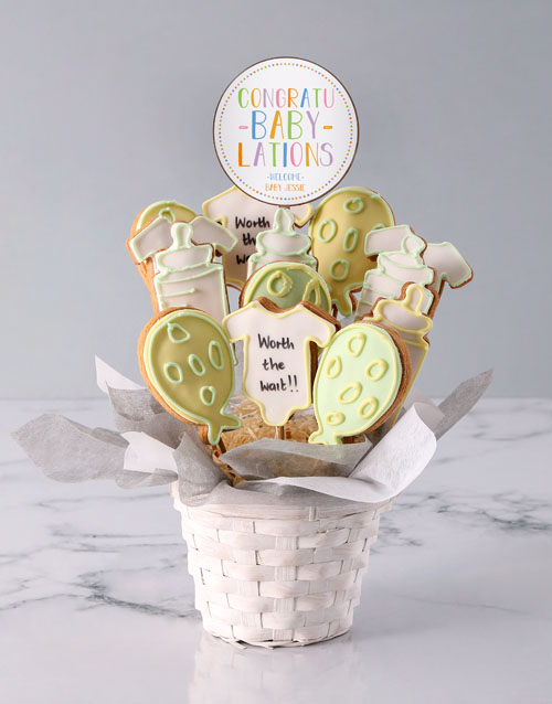 baby: Personalised A Baby Is Born Cookie Bouquet!