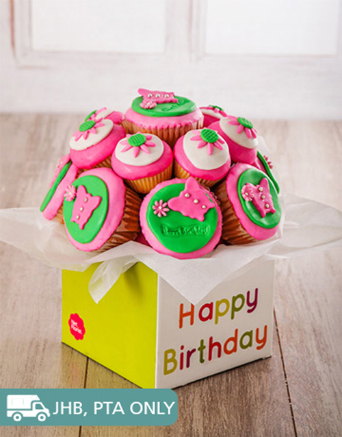 birthday: Happy Birthday Cupcake Bouquet for Her!