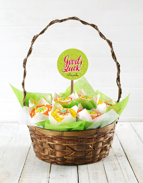 cupcakes: Personalised Bright Good Luck Cupcake Bouquet!