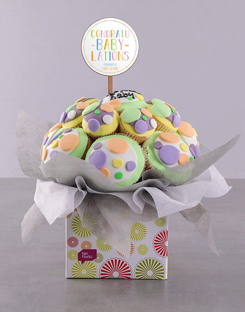 cupcake-bouquets: Personalised Bundle of Joy Baby Cupcake Bouquet!