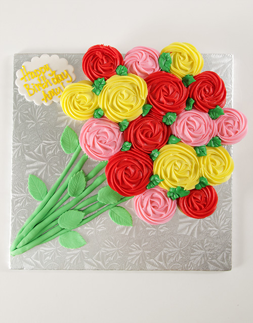 personalised: Flower Bouquet Pull Apart Cupcake Cake!