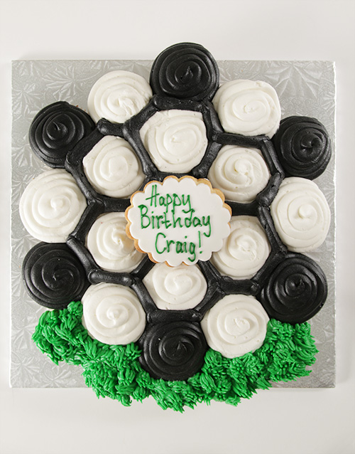 personalised: Soccer Themed Pull Apart Cupcake Cake!