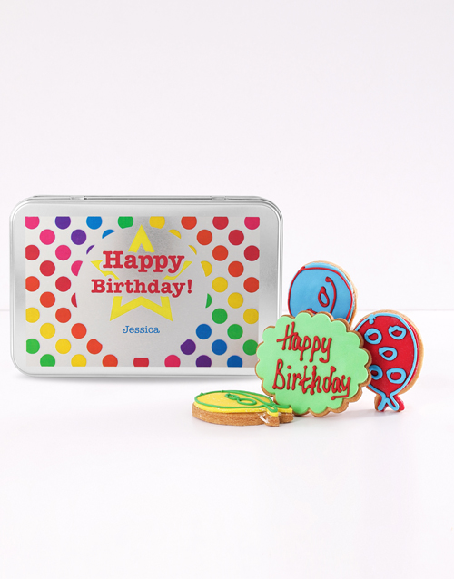 birthday: Personalised Birthday Balloon Cookie Tin!