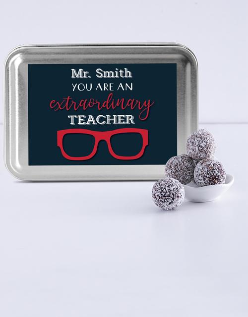 teachers-day: Personalised Best Teacher Fudge Truffle Tin!