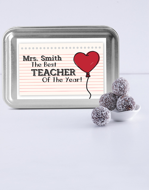 teachers-day: Personalised Cool Teacher Fudge Truffle Tin!