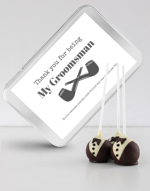 cake-pops: Tuxedo Cake Pops in a Personalised Tin!