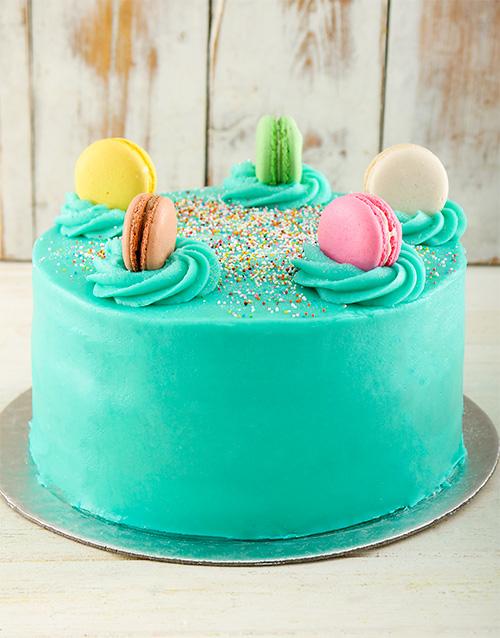 cakes: Turqouise Macaroon Cake!