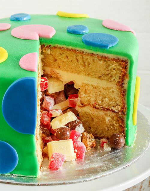 cakes: Green Polka Dot Pinata Cake 20cm!