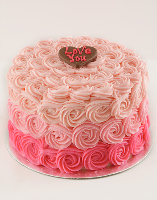 valentines-day: Rose Ombre Shortbread Cake!