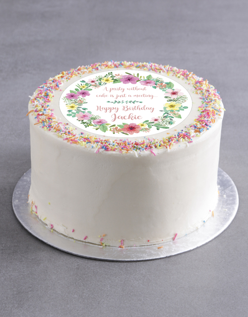cakes: Personalised Floral Birthday Cake!