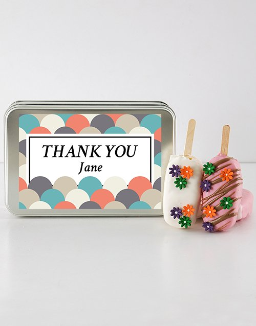 cake-pops: Thank You Cakes on a Stick in a Personalised Tin!