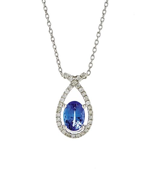 necklaces: 9KT White Gold Tanzanite and Diamond Pendant!