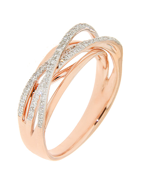 rings: 9KT Rose Gold Diamond Cross Over Ring!
