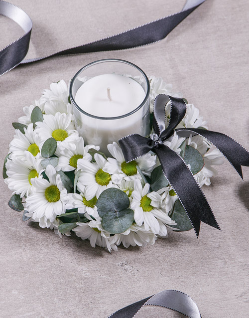 colour: Discovery White Sympathy Wreath With Candle!