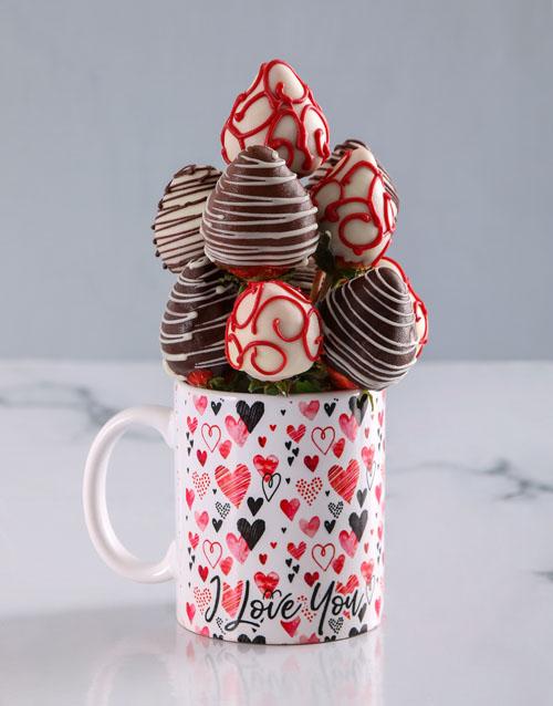 dipped-strawberries: Dipped Strawberries in a Love Mug!