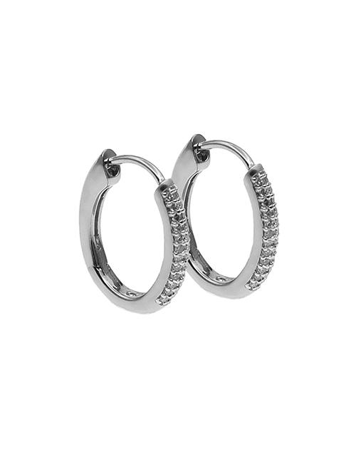 9kt White Gold Diamond Huggie Earrings