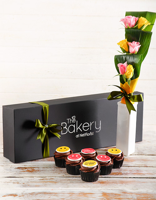 bakery: Smiley Cupcakes and Flowers!
