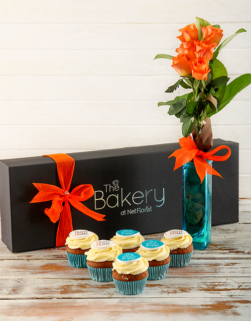 flour-and-flower-collection: Happy Home Cupcakes and Flowers Gift Box!