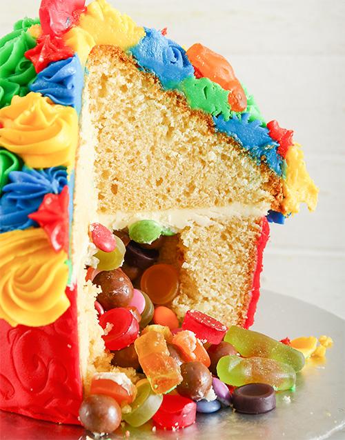 pinata-cakes-and-cupcakes: Rainbow Fantasy Giant Pinata Cupcake!