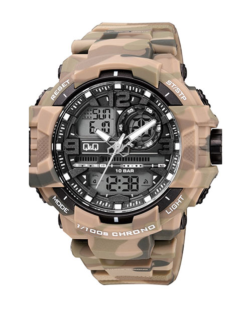 grandparents-day: QQ Outdoors Army Beige Analogue Digital Watch!