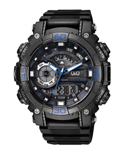 grandparents-day: QQ Gents Outdoors Black and Blue Watch!