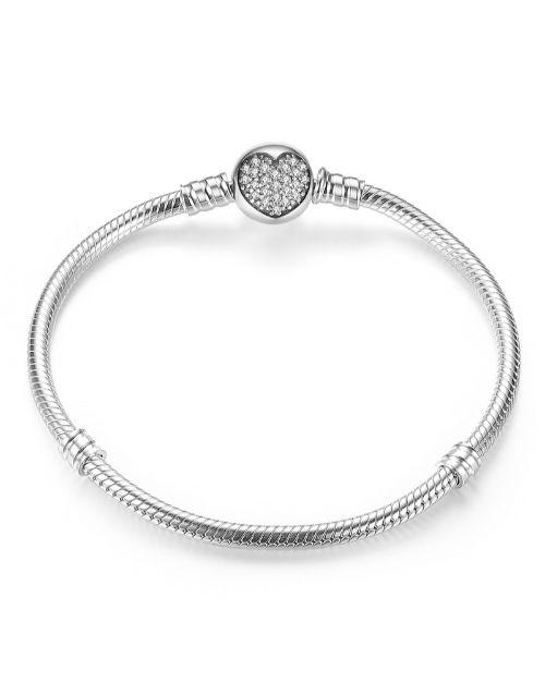pandora: Silver Cubic Heart Clasp Charm Bracelet!