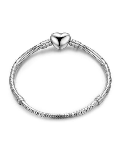 bracelets-and-bangles: Silver Heart Shape Clasp Charm Bracelet!