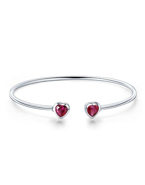 bracelets-and-bangles: Silver Open Ended Red Cubic Heart Bangle!