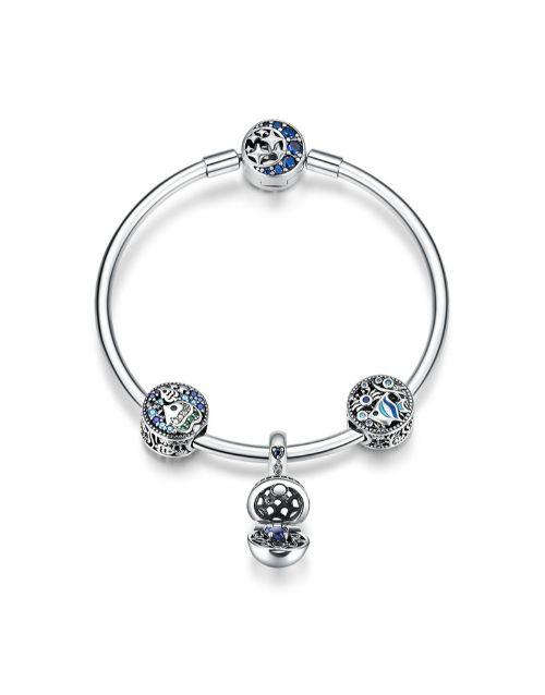 bracelets-and-bangles: Silver Blue Stone Surprize Charm Bracelet!