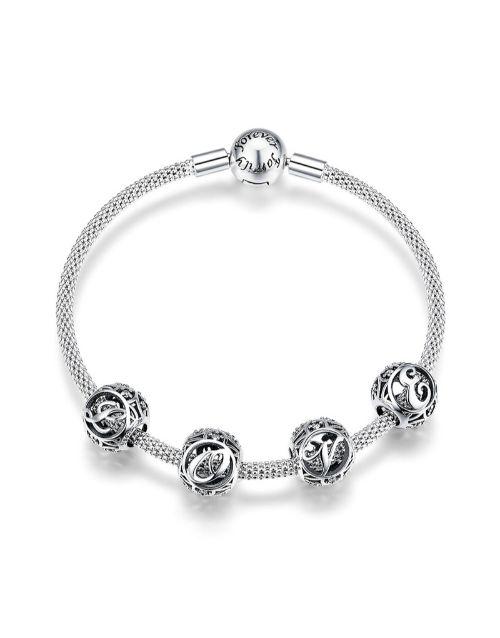 pandora: Silver Filligree Love Charm Bracelet!