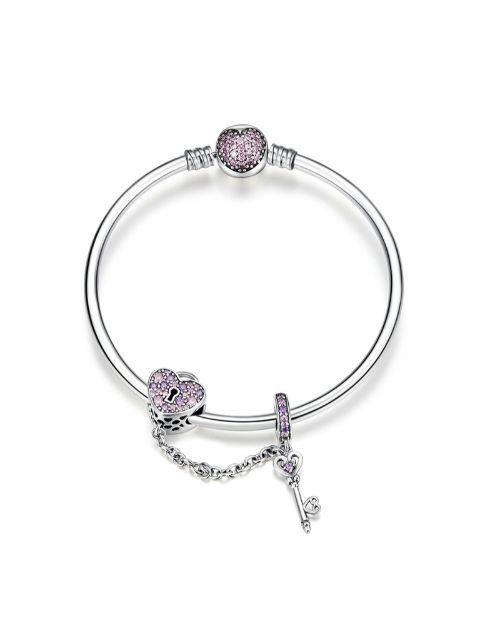 pandora: Silver Light Pink Heart and Key Bracelet!