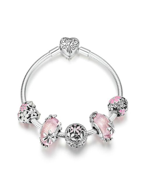 pandora: Silver Pink Floral Charm Bracelet With Charms!