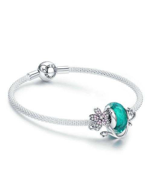 pandora: Silver Aqua Charm And Mesh Charm Bracelet!