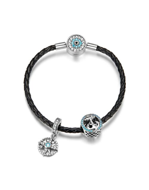 bracelets-and-bangles: Black Leather and Blue Charm Bracelet Set!