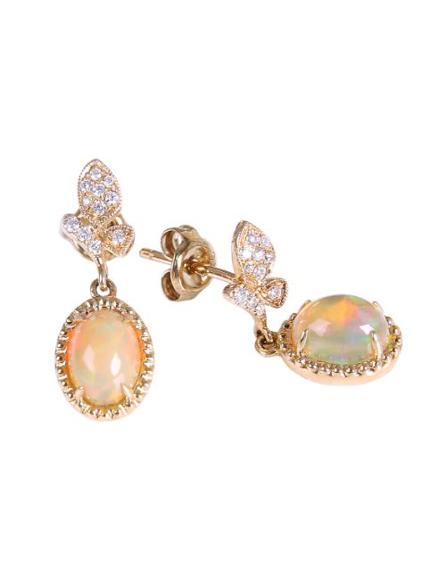 birthday: 9KT Yellow 1.19ct Oval Opal and Diamond Earrings!