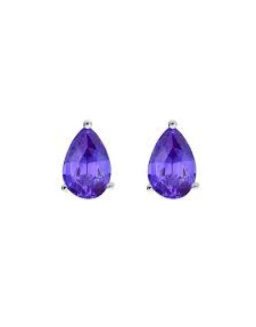 tanzanite: Silver Claw Set Pear Tanzanite Earrings!