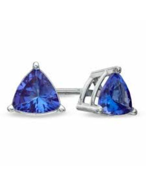 tanzanite: Silver Classic Claw Trilliant Tanzanite Earrings!