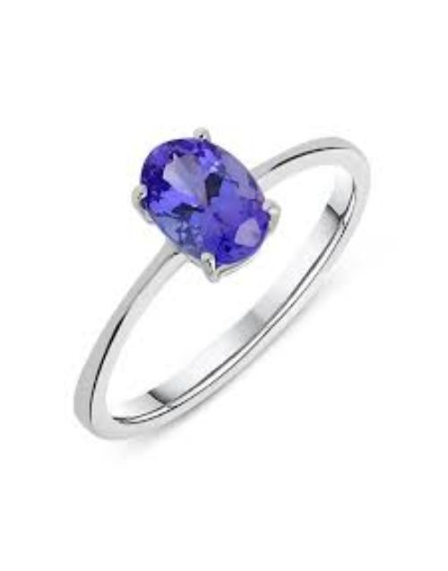 baby: Silver Claw Set Oval Tanzanite Ring!